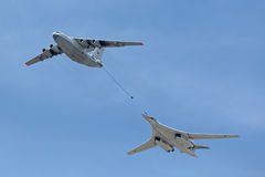 The tanker Ilyushin Il-78 and strategic bomber Tu-160 Royalty Free Stock Photo