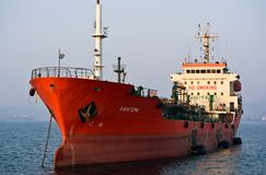 Tanker Langeree anchored in the roads. Nakhodka Bay. East (Japan) Sea. 19.04.2014 Royalty Free Stock Photography