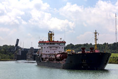 Tanker leaves lock on the Welland Canal. Connecting Lake Ontario and Lake Erie Royalty Free Stock Photos