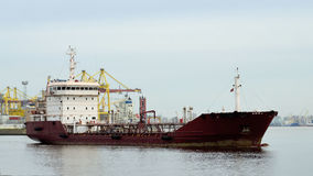 The tanker leaves the port. Stock Image