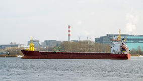 The tanker leaves the port. Royalty Free Stock Photography