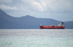 Tanker. Liquified petroleum gas carrying tanker in the bay Royalty Free Stock Photos