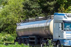 Tanker lorry truck on uk motorway in fast motion.  royalty free stock photo