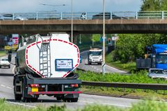 Tanker lorry truck on uk motorway in fast motion.  royalty free stock photos