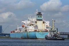 Tanker Maersk Marmara is maneuvering at the Noordzeekanaal. Royalty Free Stock Photography