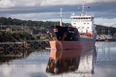 Tanker on the Manchester Ship Canal, England Royalty Free Stock Images