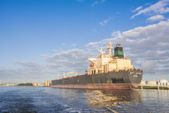 Tanker Marylebone is moored at the jetty of the BP Terminal. Stock Photo
