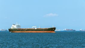 Tanker on the Mediterranean sea. There are other transport vessels in the background. royalty free stock images