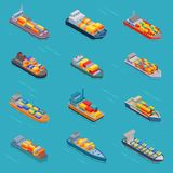 Tanker oil bulk vector isometric tank ships or cargo boats transport and isometry transportation by sea or ocean set Stock Photography