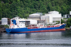 Tanker at oil depot Stock Images