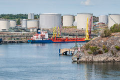 Tanker with oil storage Stock Images