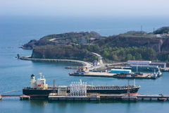 Tanker Pacific Oasis at the oil terminal. Nakhodka Bay. East (Japan) Sea. 21.05.2012 Stock Images