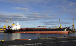 Tanker and  port Stock Photo