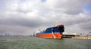 Tanker in port. A tanker docked in th port of Southampton, UK Royalty Free Stock Photos