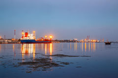 Tanker in the port. Harbor at night Royalty Free Stock Photography