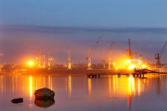 Tanker in the port. Harbor at night Royalty Free Stock Image