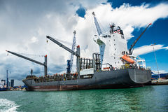 Tanker in the port of Miami for loading and bunkering operation Royalty Free Stock Photo