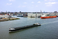 Tanker port terminal and cargo ship, Rotterdam, Netherlands Stock Photography