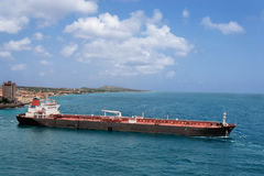 Tanker pulls out of port Royalty Free Stock Images