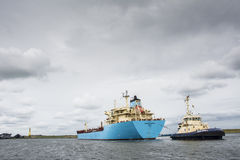 Tanker Robert Maersk is on his way to the Vopak terminal Stock Photos