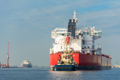 Tanker is sailing in the port of Amsterdam. Stock Photos