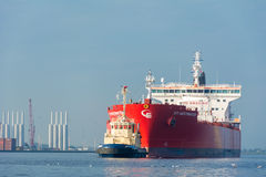Tanker is sailing in the port of Amsterdam. Royalty Free Stock Image