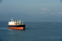 Tanker sailing in the sea stock photography
