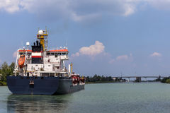 Tanker sails on Welland Cana. L linking  Lake Ontario and Lake Erie Royalty Free Stock Photography