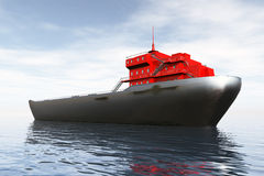 Tanker in the Sea 3D render Royalty Free Stock Images