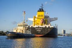 Tanker Seasprat is shifting to the Eurotank. Royalty Free Stock Photos