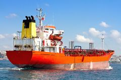 Tanker Ship. Red tanker ship sailing into the sea Royalty Free Stock Images