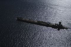 Tanker ship. Aerial view of tanker ship Stock Photos
