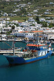Tanker ship. Paroikia harbor on the island of Paros, Greece.  A tanker is docked at the island's harbor Royalty Free Stock Photos