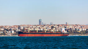 The tanker ship crosses the Bosporus on the background of Uskudar Royalty Free Stock Photos
