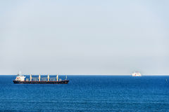 Tanker ship and a cruise Royalty Free Stock Images