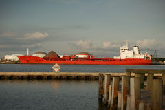 Tanker ship at dock Stock Photo