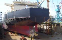 Tanker ship in dock. Vlcc very large crude oil tanker in dock Stock Image
