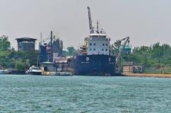 Tanker Ship Entering St. Lambert Locks Royalty Free Stock Photo