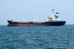 Tanker ship. In the ocean at the gulf of Thailand, Sri Racha, Thailand royalty free stock photos