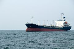 Tanker ship. In the ocean at the gulf of Thailand, Sri Racha, Thailand Stock Image