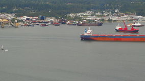 Tanker Ship Passing By. V1. Tanker ship in Vancouver Harbour passing by stock footage