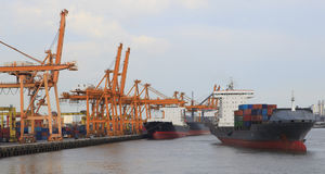 Tanker ship in port. For multipurpose Royalty Free Stock Photo