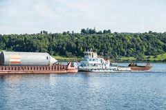 Tanker ship on river Stock Photography