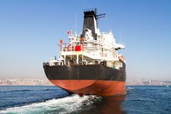 Tanker ship on route. Large tanker ship on route to Bosporus sea Royalty Free Stock Images