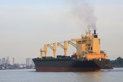 Tanker ship running in river Stock Photography