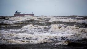 Tanker ship at sea during a storm Royalty Free Stock Photos