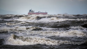 Tanker ship at sea during a storm Royalty Free Stock Photo