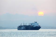 Tanker ship at sunset. Algeciras, Spain Stock Photos