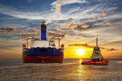 Tanker ship and sunset Royalty Free Stock Image