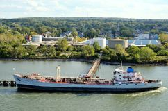 Tanker ship taking her cargo, Bayonne in New Jersey. royalty free stock photo
